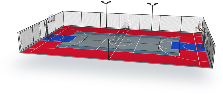 Einsatzm glichkeiten sam sportger te for Indoor sport court dimensions
